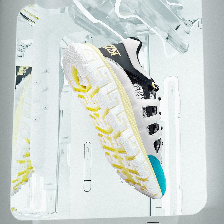 Versace men's Trigreca sneakers with yellow detail on the sole, $895.