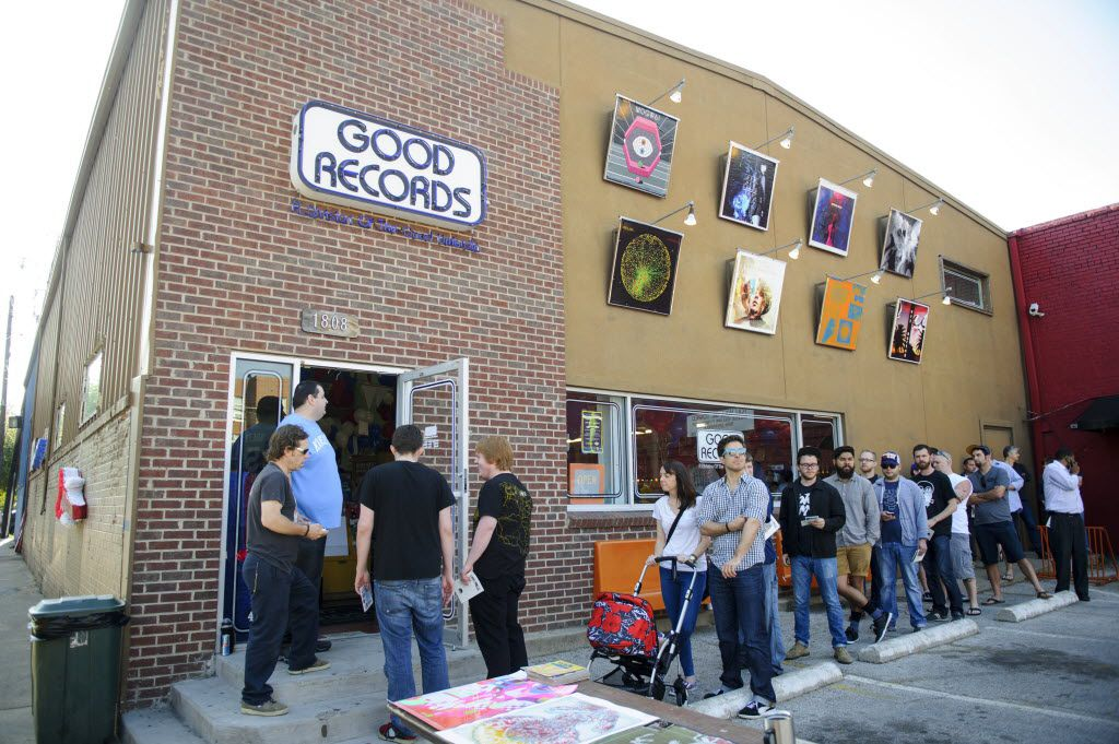 People line up outside of Good Records on Greenville as it celebrates it's 14th year and Record Store Day's 7th year on Saturday, April 19, 2014. (Matthew Busch/The Dallas Morning News)