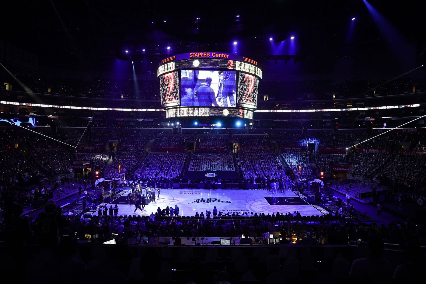 LA Clippers forward Kawhi Leonard is introduced during before an NBA playoff basketball game against the Dallas Mavericks  at Staples Center on Saturday, May 22, 2021, in Los Angeles.