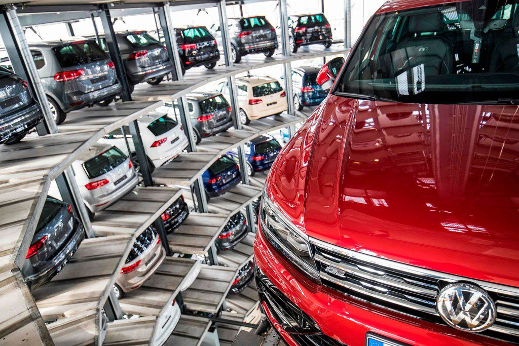 (FILES) In this file photo taken on March 14, 2017 German carmaker Volkswagen's cars are seen at the storage facility auto tower at the company's headquarters in Wolfsburg. - The first major court case against Volkswagen over its cheating of emissions tests on 11 million diesel vehicles worldwide begins on September 10, 2018. (Photo by Odd ANDERSEN / AFP)ODD ANDERSEN/AFP/Getty Images
