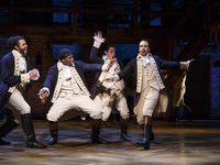 "From left to right, Daveed Diggs, Okieriete Odnaodowa, Anthony Ramos and Lin-Manuel Miranda in the original Broadway production of ""Hamilton."""