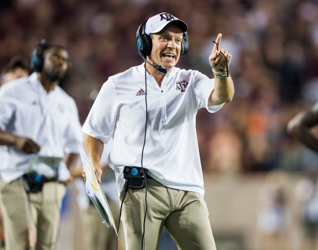 FILE - Texas A&M head coach Jimbo Fisher disputes a call that Aggies wide receiver Quartney Davis (1) fumbled the ball before reaching the goal line during the fourth quarter of a game against Clemson on Saturday, Sept. 8, 2018 at Kyle Field in College Station. (Ashley Landis/The Dallas Morning News)