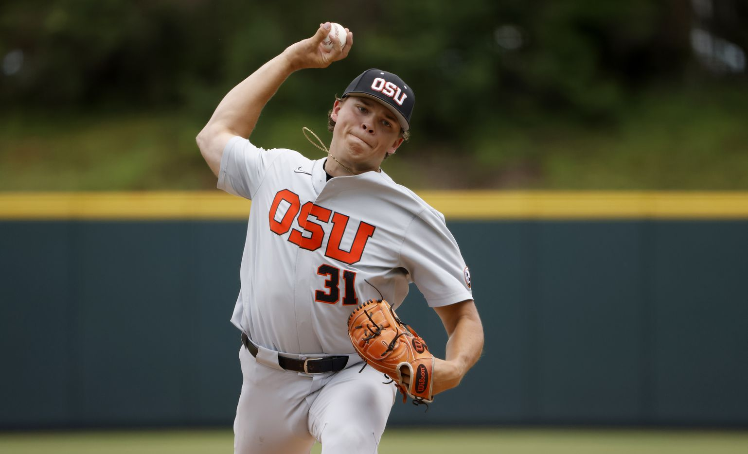 Oregon St. pitcher Jack Washburn (31) delivers against Dallas Baptist in the first inning during the NCAA Division I Baseball Regional Championship game in Fort Worth, Texas on June 7, 2021. (Ron Jenkins/Special Contributor)