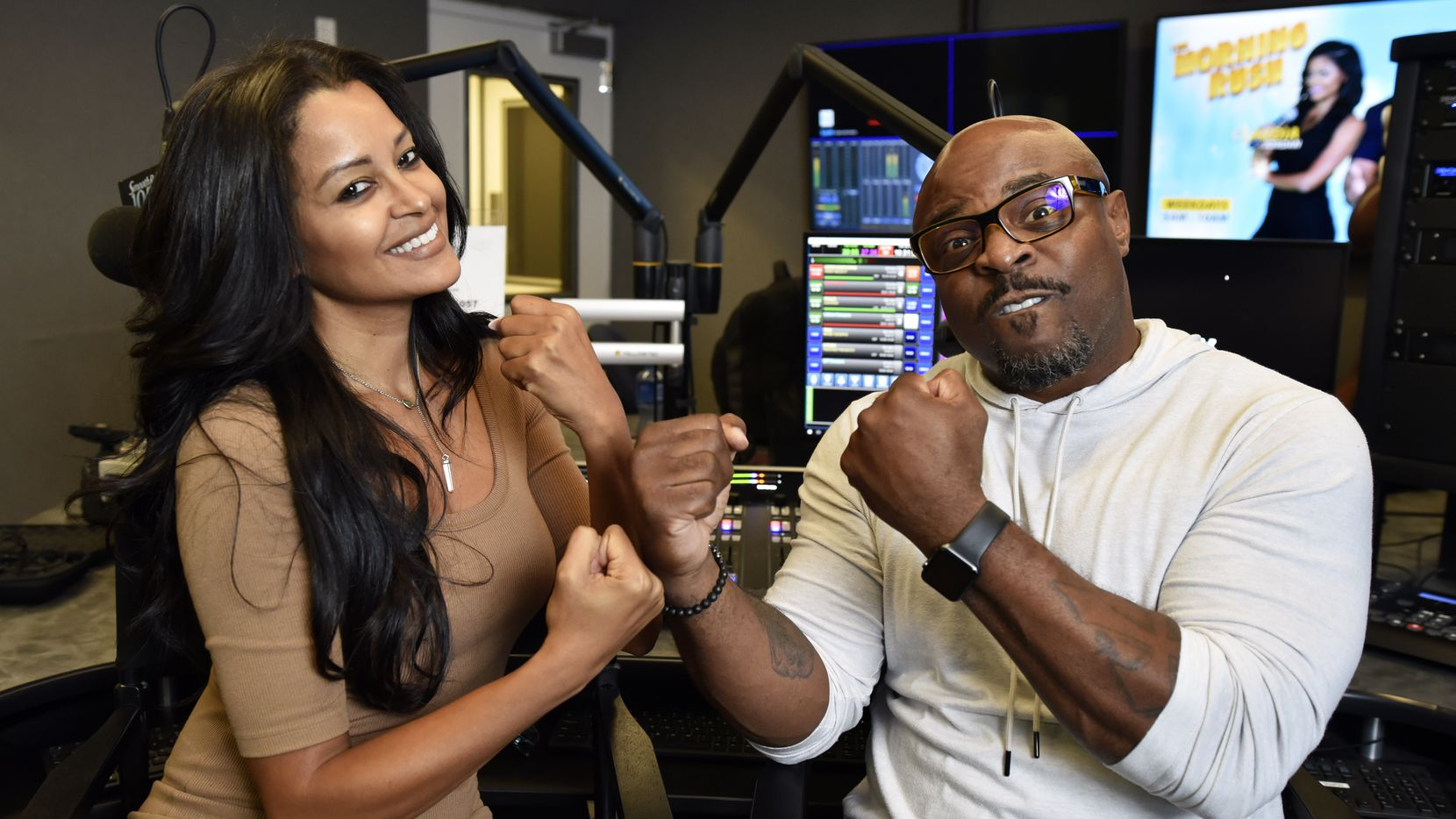 Claudia Jordan (left), shown with her former cohost Rudy Rush on KRNB Smooth 105.7 radio, will have an hour-long show on Fox Soul called Out Loud with Claudia Jordan. Ben Torres/Special Contributor