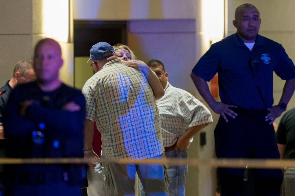 Friends and family of injured officers arrive at Baylor Hospital Emergency Room on July 7, 2016 in Dallas, Texas. 11 Police officers shot, 4 dead, 1 person in custody after shots fired during downtown Dallas Black Lives matters rally Thursday night. (Ting Shen/The Dallas Morning News)