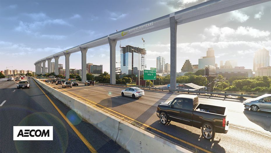This rendering shows how the hyperloop could run parallel to Texas highways.