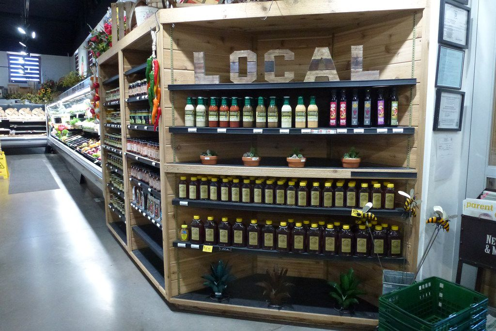Ruibal's Rosemeade Market emphasizes local where possible, such as Texas Olive Ranch olive oil and Sunnyvale Honey Producers honey.