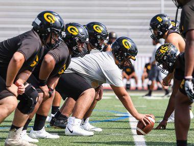 Garland High School football team practice in Garland on Wednesday, October 13, 2021. (Lola Gomez/The Dallas Morning News)