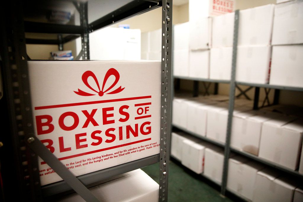Boxes filled with nonperishable items at The Salvation Army in Dallas on Jan. 25, 2019. The Salvation Army offered free food pantry assistance to furloughed federal employees who were not getting paid as a result of the current government shutdown.