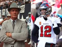 Left: Former Dallas Cowboys coach Tom Landry / Right: Tampa Bay quarterback Tom Brady.