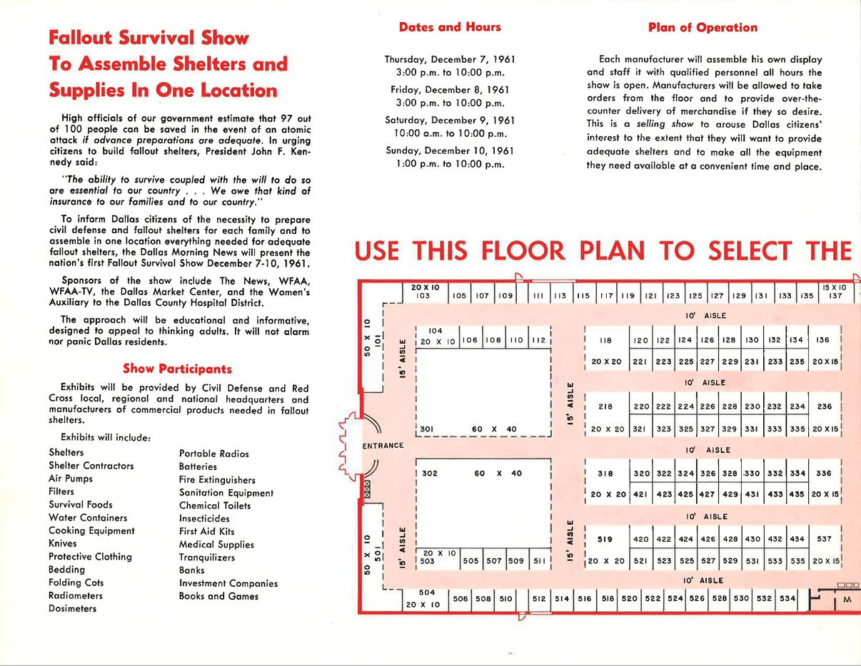 The pamphlet shows what attendees can expect at the show, which was the first of its kind at the time.