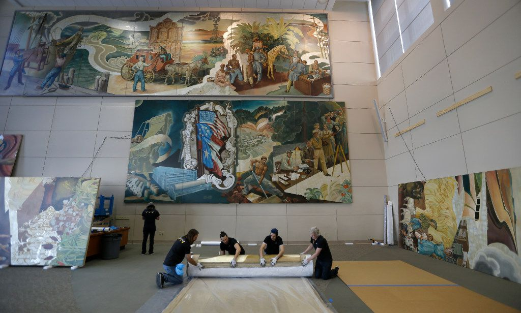 The mural is 15 feet high and, if spread out horizontally, would be 175 feet wide. (Jae S. Lee/Staff Photographer)