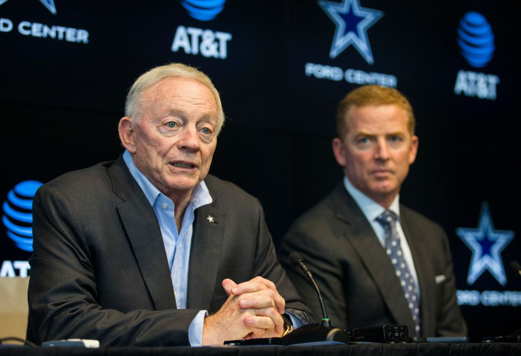 Dallas Cowboys owner Jerry Jones and head coach Jason Garrett answer questions from reporters after rounds four through seven of the 2017 NFL Draft on Saturday, April 29, 2017 at The Star in Frisco, Texas. (Ashley Landis/The Dallas Morning News)