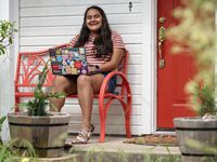 Ileana Valdez, 20, an undergrad student at Yale, outside of her home in Red Oak, Texas on Thursday. Valdez created an online dating site for college students called OKZoomer.