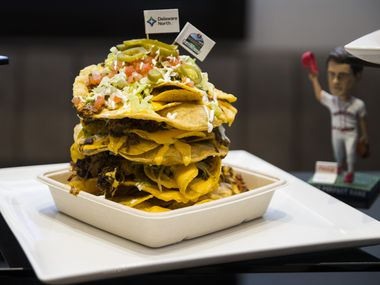 The Stack, a new concession item at Globe Life Field, was unveiled on Wednesday, March 11, 2020 in Arlington.