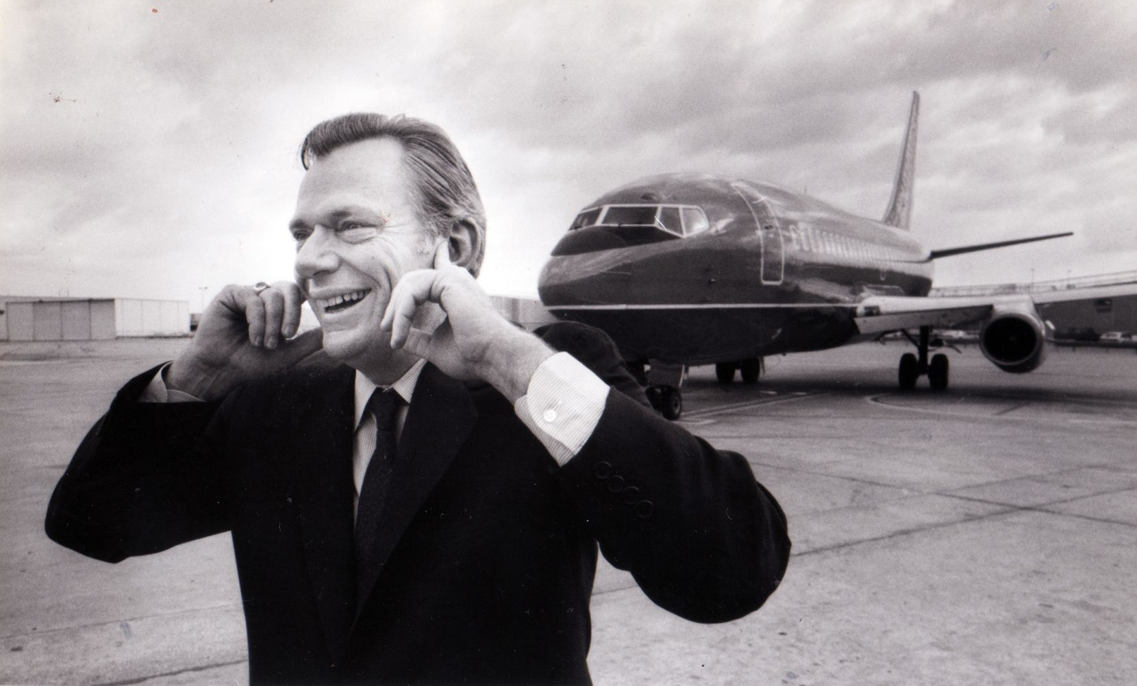 In 198, Herb Kelleher covered his ears as a Southwest Airlines jet taxied to the runway at Love Field.