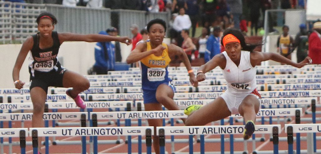 Lancaster's Kyla Glenn wins the Girls 5A 110 meter hurdles event as Frisco's Simone Watkins and West Mesquite's Ja'Sha Sloam follow. The UIL Region l 6A and UIL Region ll 5A track meets were held at UT Arlington's Maverick Stadium in Arlington on April 29, 2017. (Steve Hamm/Special Contributor)