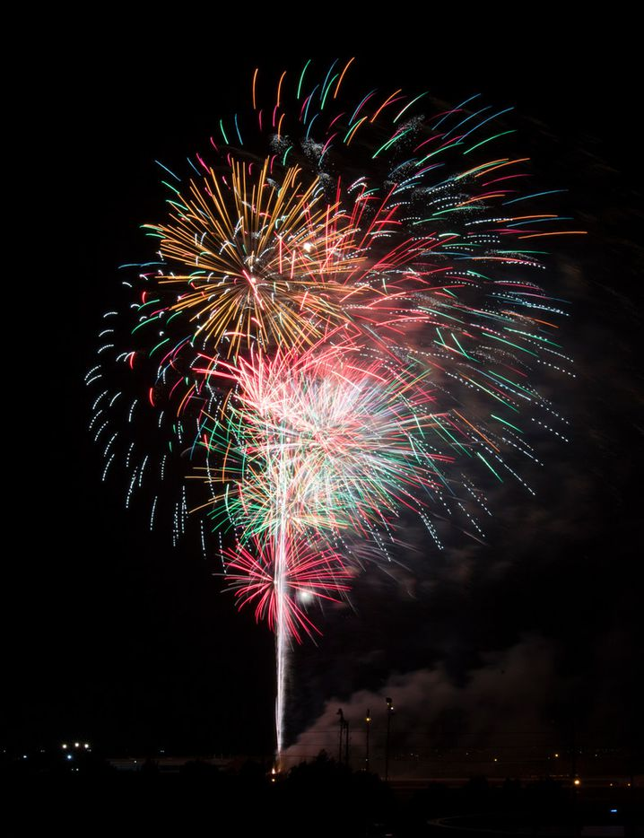 Fireworks burst during Kaboom Town festivities in Addison, Texas on Tuesday, July 3, 2018. (Ashley Landis/The Dallas Morning News)