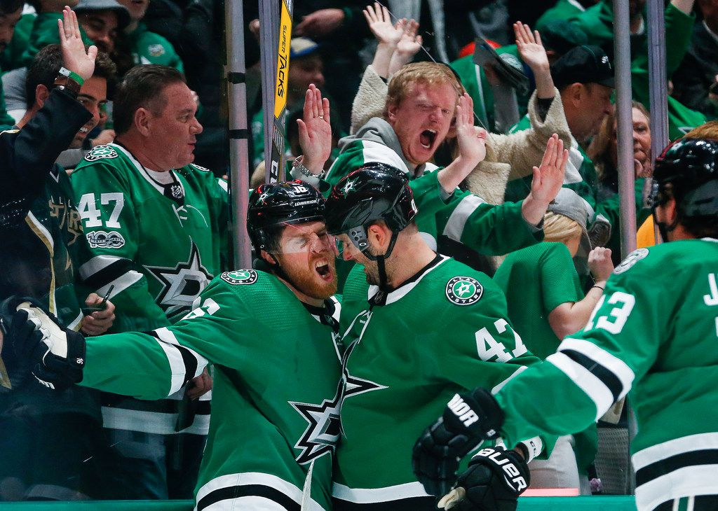 Dallas Stars center Joe Pavelski (16) celebrates his score with right wing Alexander Radulov (47) during the first period of an NHL matchup between the Dallas Stars and the Chicago Blackhawks on Sunday, Feb. 23, 2020 at American Airlines Center in Dallas.