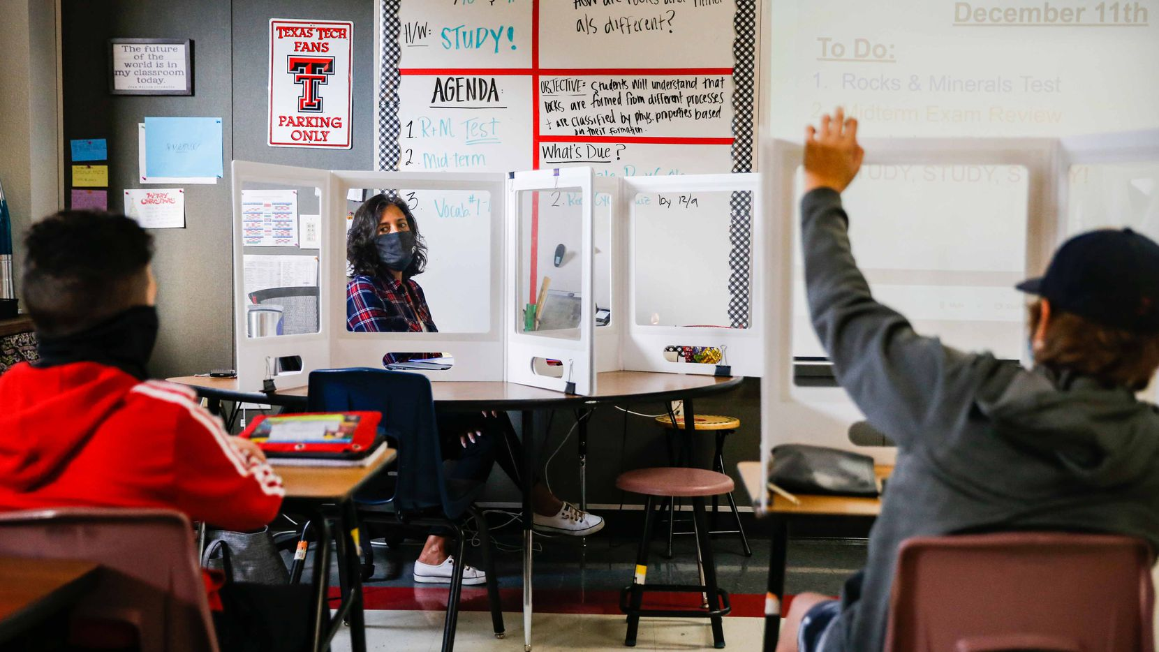 Carren Smrstik, 6th grade substitute teacher during a science class at Briarhill Middle School in Highland Village on Friday, December 11, 2020. (Lola Gomez/The Dallas Morning News)