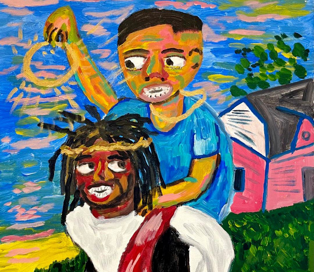 "Brandon Thompson's ""Momma Said Don't Leave Out the House Unless You Got Jesus With You"" is among the works featured in Ro2 Art gallery's ""Hard Work, No Play"" exhibition, which runs through Jan. 30."