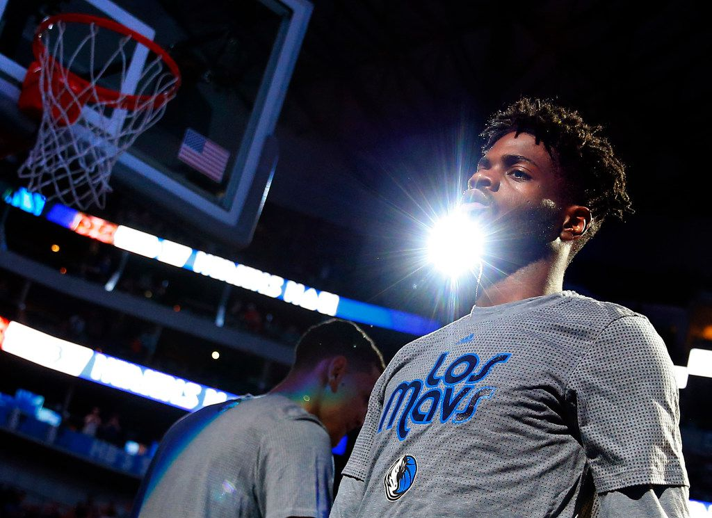 Dallas Mavericks forward Nerlens Noel (3) is introduced as a starter against the Memphis Grizzlies at the American Airlines Center in Dallas, Friday, March 3, 2017. (Tom Fox/The Dallas Morning News)