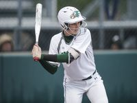 Prosper's Elizabeth Moffitt bats during game one of a best of three series of a Class 6A bi-district playoff softball game against Flower Mound Marcus at Prosper High School, Thursday, April 29, 2021.