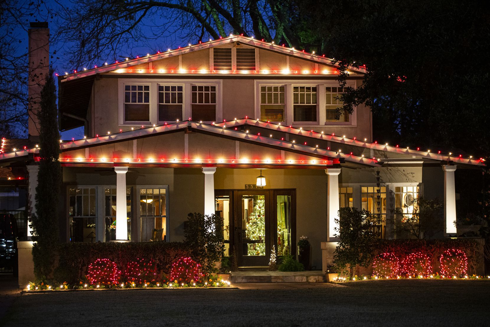 Christmas lights illuminate a home in the Swiss Ave. area of East Dallas.