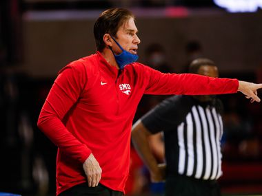 SMU's head coach Tim Jankovich watches from the sideline during the second half of a game against East Carolina at Moody Coliseum in Dallas on Wednesday, Dec. 16, 2020. SMU won, 70-55. (Juan Figueroa/ The Dallas Morning News)