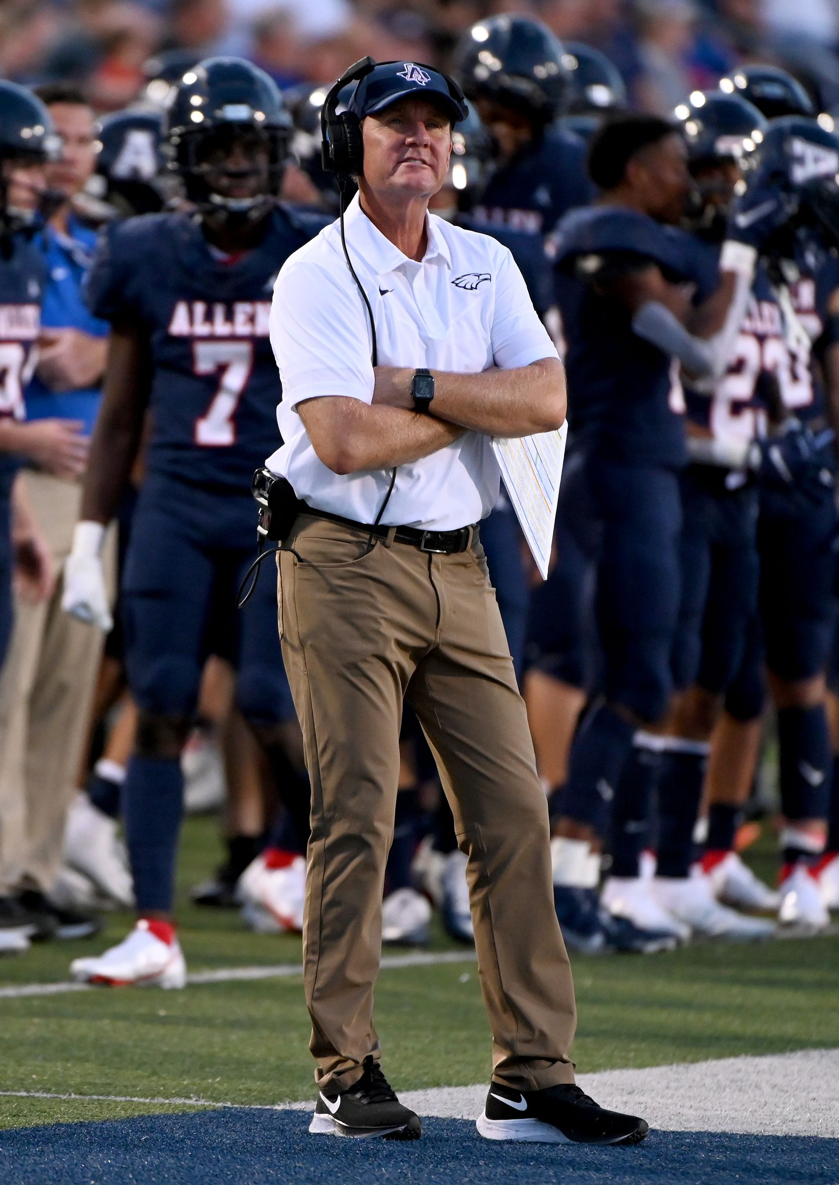Allen head coach Chad Morris reacts to play in the first half during a high school football game between Plano East and Allen, Friday, Aug. 27, 2021, in Allen, Texas. (Matt Strasen/Special Contributor)