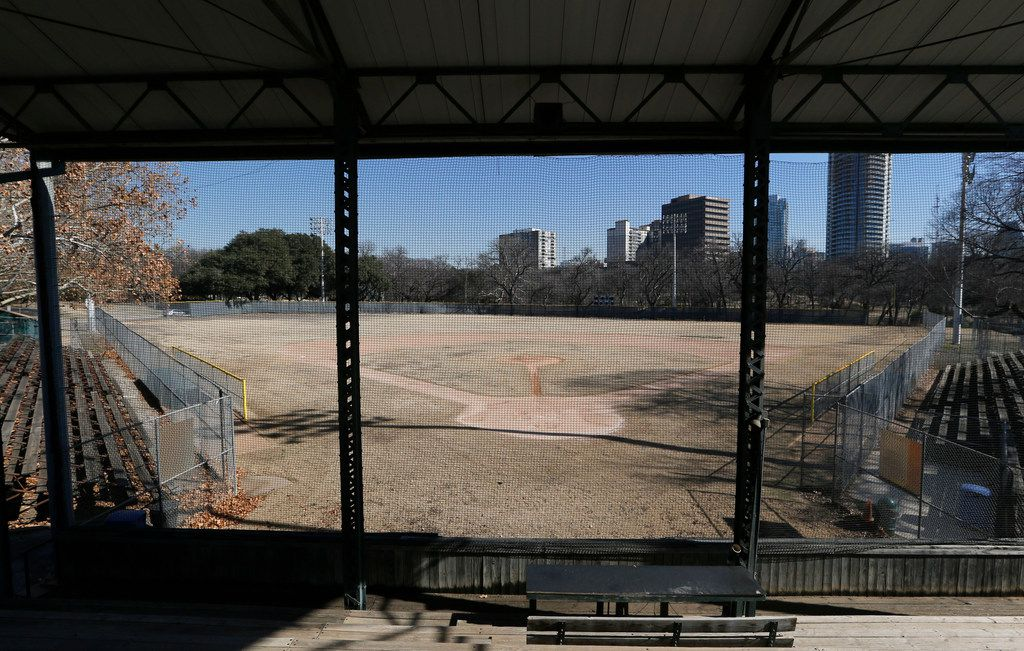 Last winter, Reverchon Park's ball field, as seen from the historic grandstand, showed its age -- every bit of 100 years old.