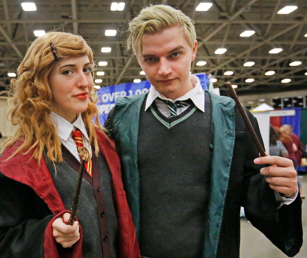 Sophie Durre as Hermione Granger and Brandon Smith as Draco Malfoy are pictured at LeakyCon, the Harry Potter fan convention held at the Kay Bailey Hutchison Convention Center in Dallas on Saturday, August 11, 2018.