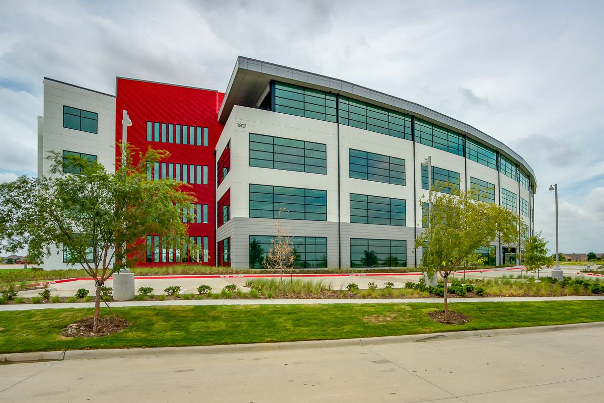 The four-story, 109,000-square-foot Crown Centre office building is on State Highway 121 at Parker Road.