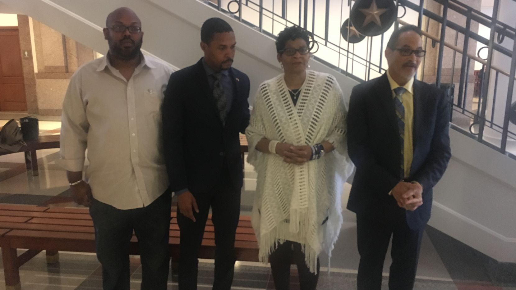Rep. Garnet Coleman met with Sandra Bland's mother, Geneva Reed-Veal, and the men who accompanied her to the Capitol on Tuesday.