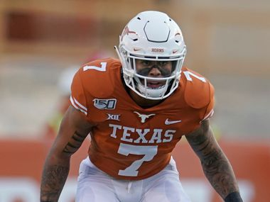 Texas's Caden Sterns (7) lines up against Louisiana Tech during the first half of an NCAA college football game in Austin, Texas, Saturday, Aug. 31, 2019. (AP Photo/Chuck Burton)