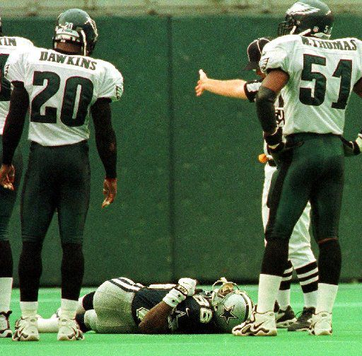 Cowboys wide receiver Michael Irvin was injured on a play in the first quarter of a game against the Eagles in October 1999 in Philadelphia. Irvin was taken off the field on a stretcher and to a local hospital for evaluation. He never played again.