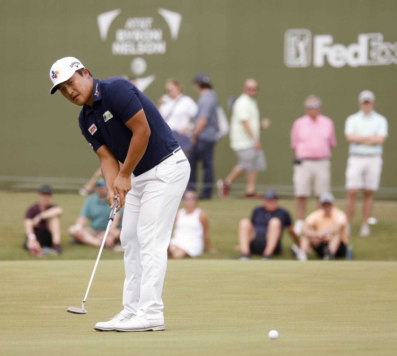 Kyoung-Hoon Lee putts on the 16th hole during round 3 of the AT&T Byron Nelson  at TPC Craig Ranch on Saturday, May 15, 2021 in McKinney, Texas. (Vernon Bryant/The Dallas Morning News)