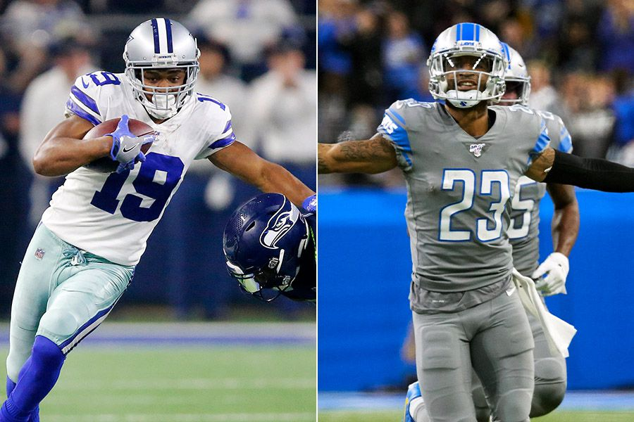 Cowboys wide receiver Amari Cooper (left) and new Eagles cornerback Darius Slay (right), who is pictured above playing for the Lions.