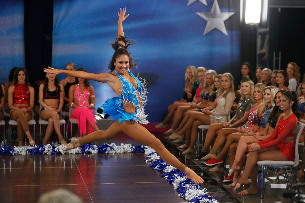 Veteran cheerleader Tess of Baton Rouge danced during the individual talent portion of tryouts for the Dallas Cowboys Cheerleaders at  AT&T Stadium in Arlington on May 13, 2017.