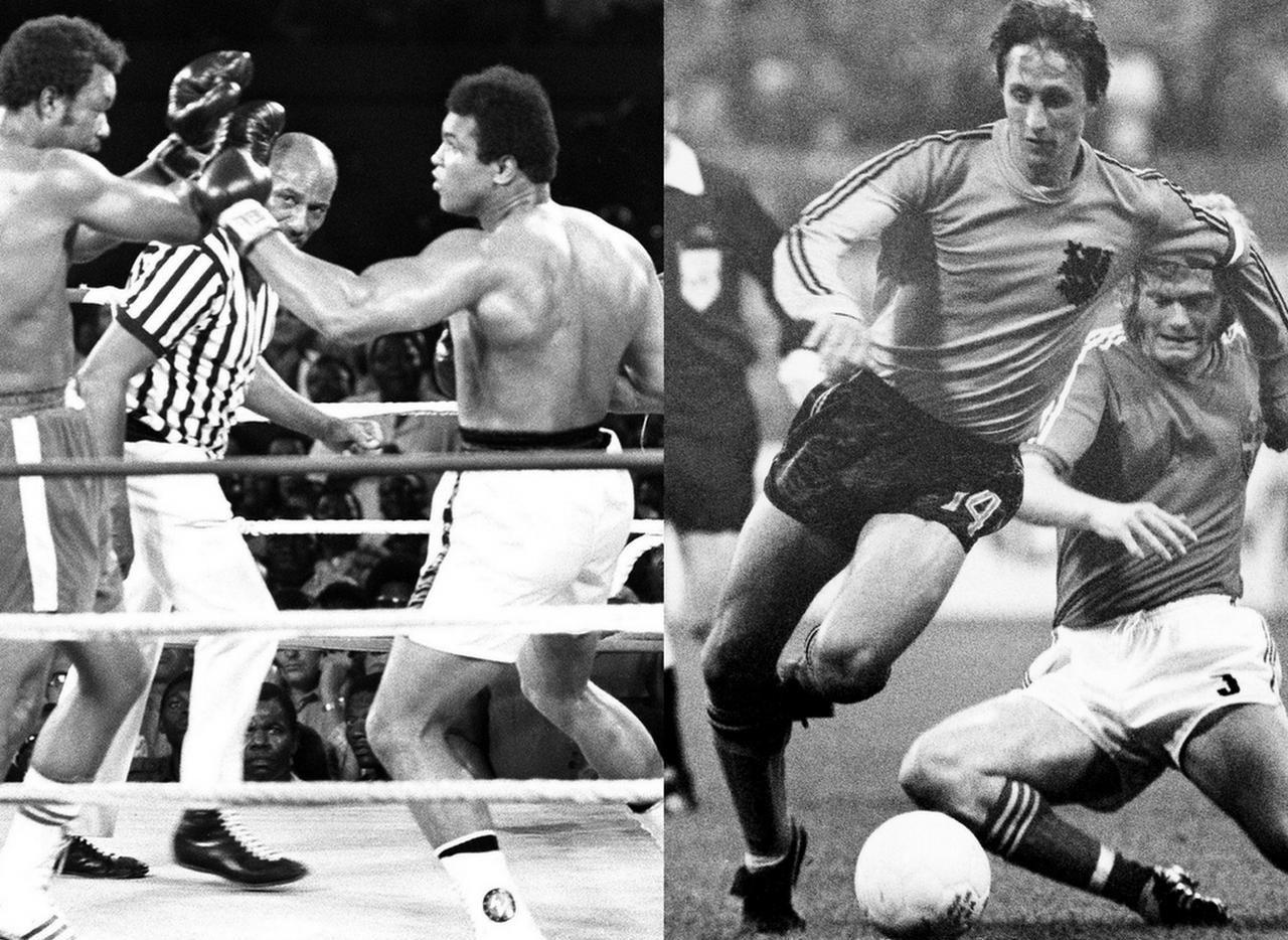 Alí en la pelea del Siglo, y Cruyff en el Mundial de 1974. Fotos Getty Image y AP.