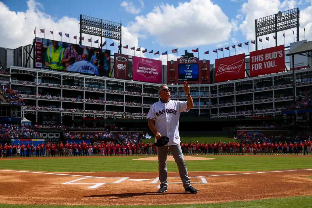 Former Texas Rangers player  Kenny Rogers waves to fans as he is introduced to catch the ceremonial first pitch before the Rangers final game on Sunday, September 29, 2019 at Globe Life Park in Arlington, Texas.