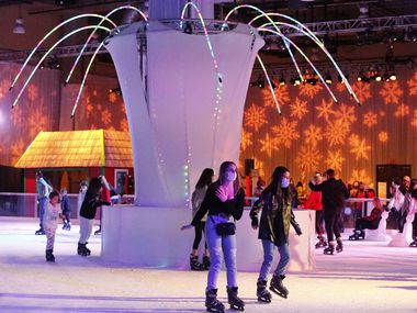 The skating rink has been moved indoors this year at the annual holiday celebrationat the Gaylord Texan in Grapevine on Saturday, December 12, 2020.  (Stewart F. House/Special Contributor)