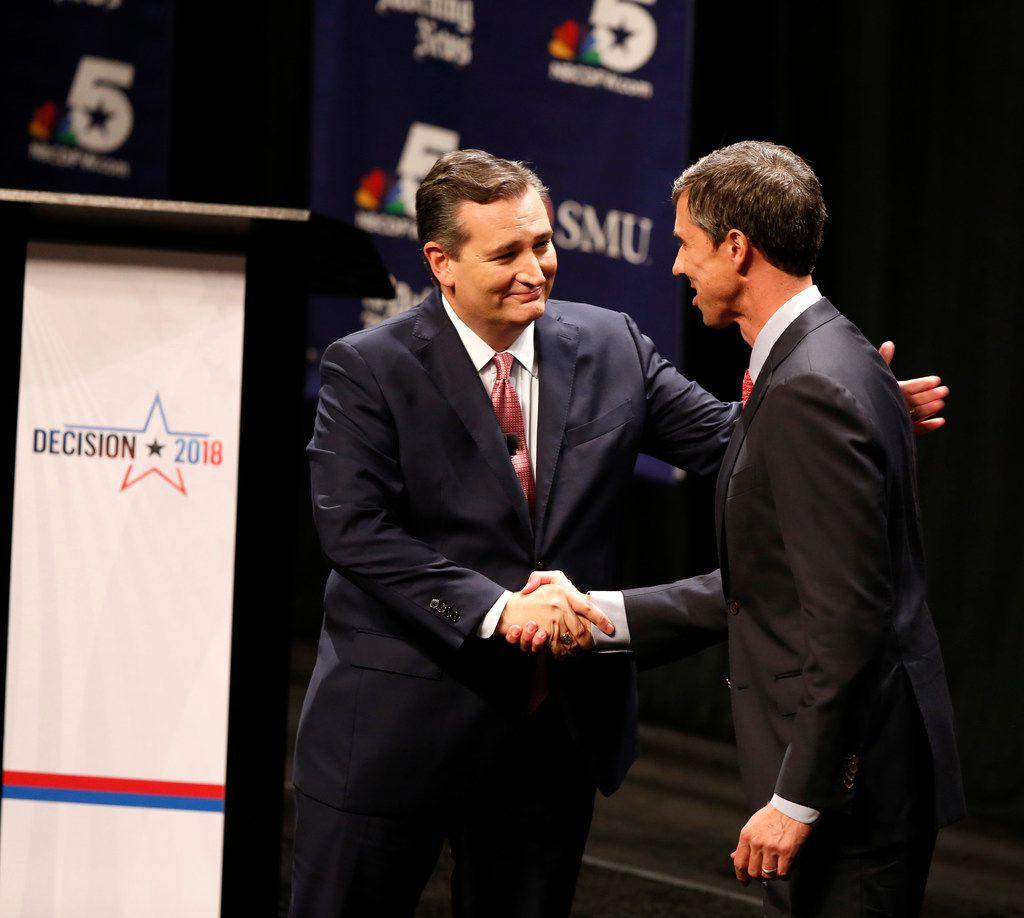 Republican U.S. Sen. Ted Cruz (left) shook hands with Democratic U.S. Rep. Beto O'Rourke in their first debate for Texas U.S. Senate in McFarlin Auditorium at SMU in Dallas on Sept. 21, 2018.