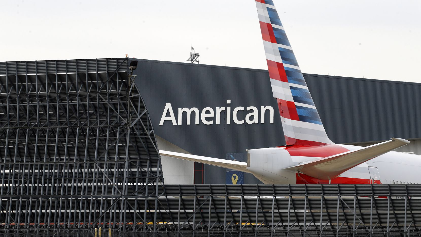 An American Airlines aircraft sits outside maintenance Hangar 5 at Dallas-Fort Worth International Airport in January.