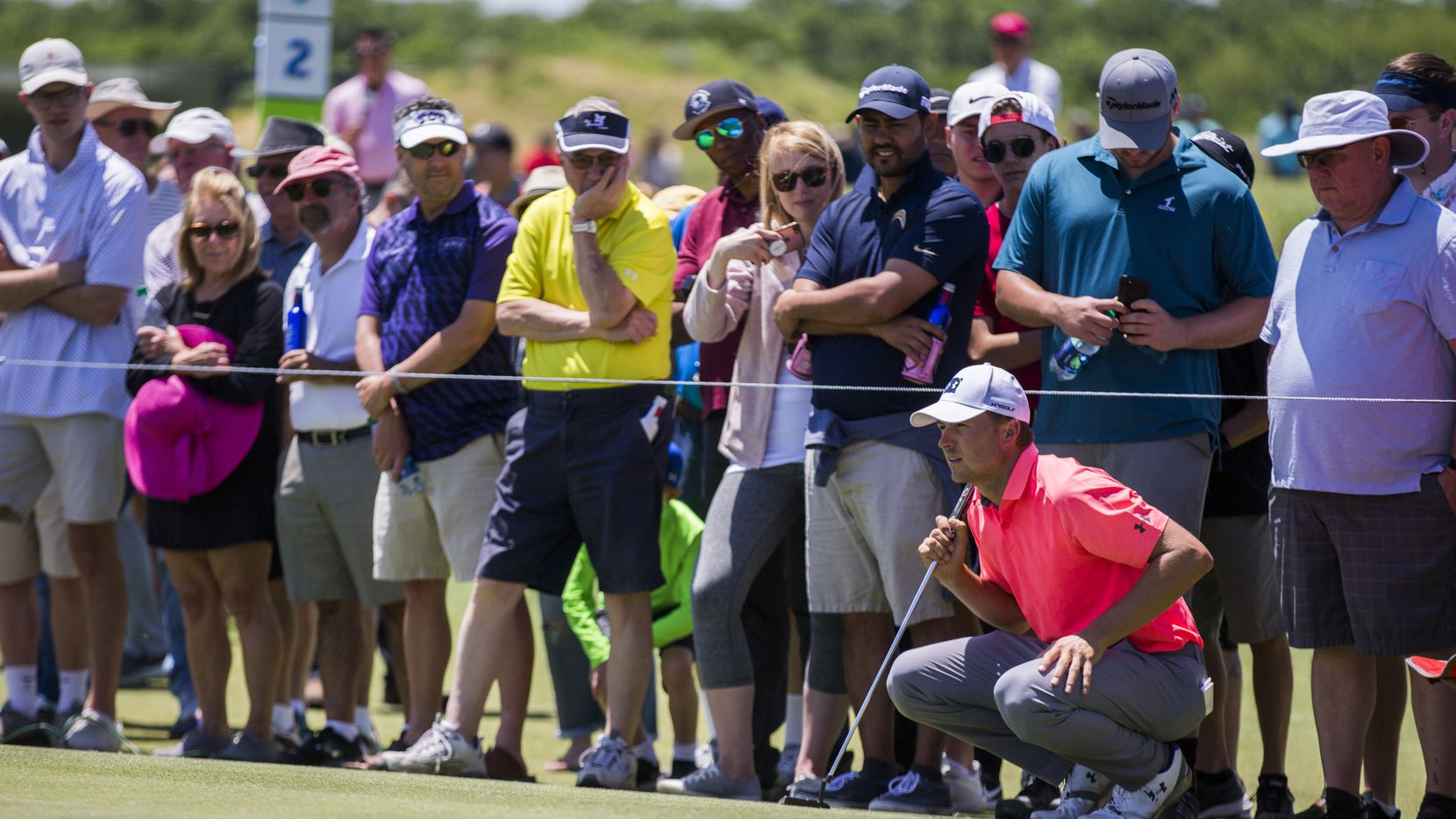 Jordan Spieth lines up a shot on the first green during round 4 of the AT&T Byron Nelson golf tournament on Sunday, May 12, 2019 at Trinity Forest Golf Club in Dallas.