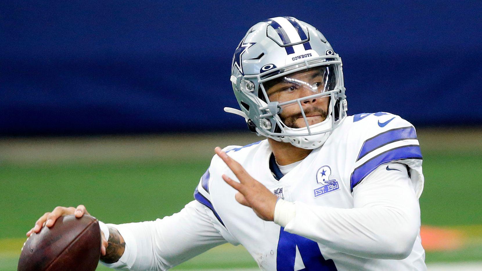 Dallas Cowboys quarterback Dak Prescott (4) throws a fourth quarter pass against the Cleveland Browns at AT&T Stadium in Arlington, Texas, Sunday, October 4, 2020.