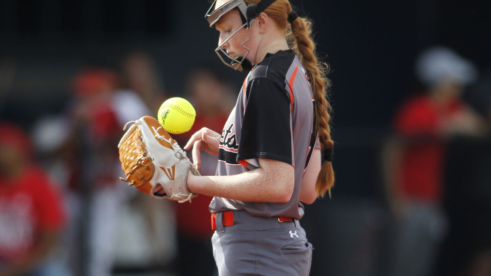 Rockwell's Ainsley Pemberton (9) takes a moment between pitches during the bottom of the 3rd inning against Converse Judson. The two teams played their UIL 6A state softball semifinal game at Leander Glenn High School in Leander on June 4, 2021. (Steve Hamm/ Special Contributor)