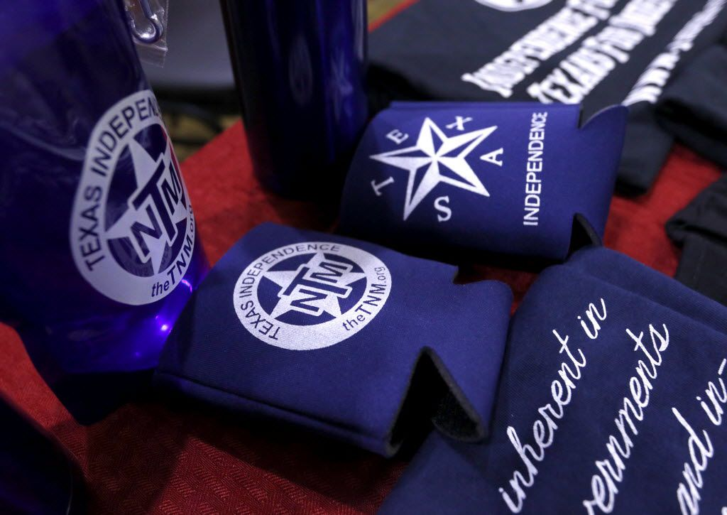 Items for sale by the Texas Nationalist Movement lay on a table before a recruiting meeting at the Best Western Plus in Denton on Aug. 3, 2015. The group was touring the state recruiting people to help sign a petition to put the question of Texas secession on the Republican primary ballot.