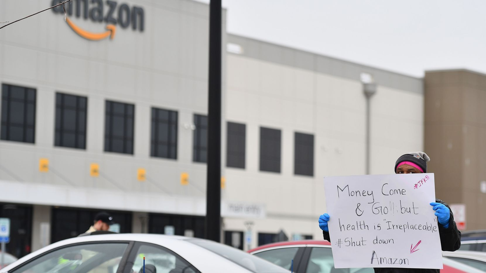 Amazon workers at Amazon's Staten Island warehouse strike in demand that the facility be shut down and cleaned after one staffer tested positive for the coronavirus on March 30, 2020 in New York.