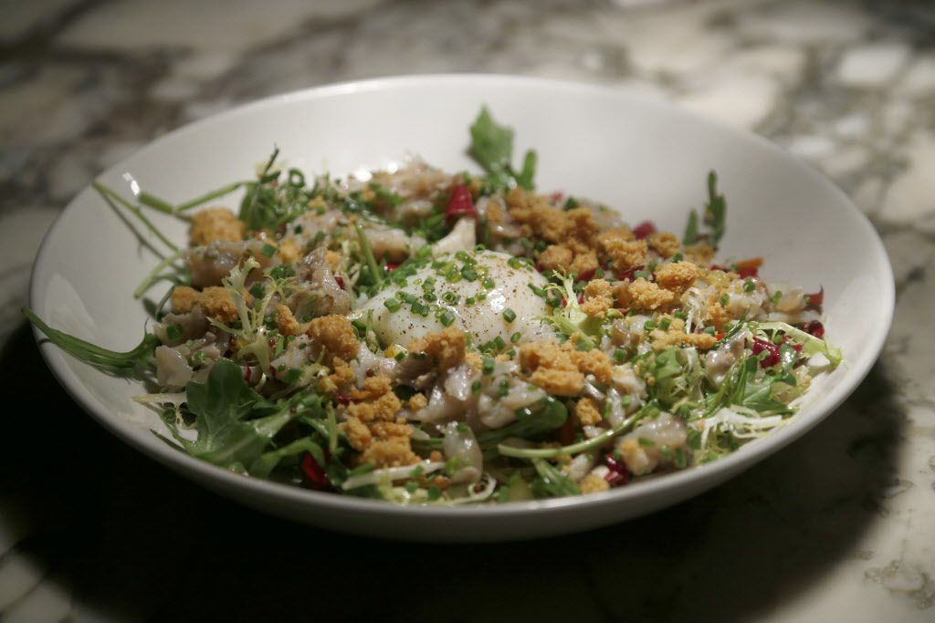 Chef Richard Blankenship's smoked fish salad is topped with a sous-vide-cooked egg.